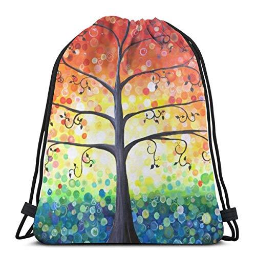 OPLKJ Bolsas con cordón de gimnasio, Raindow Dot Tree Print Tote Mochila...