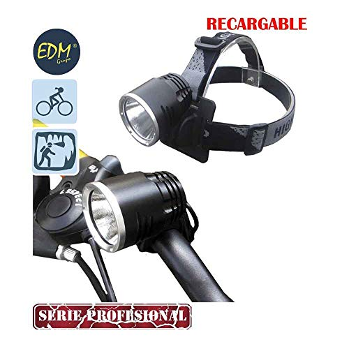 Edm Grupo 36110 Linterna Recargable con Doble Funcion Cabeza y Bicicleta con Super Led de 10W, Negro