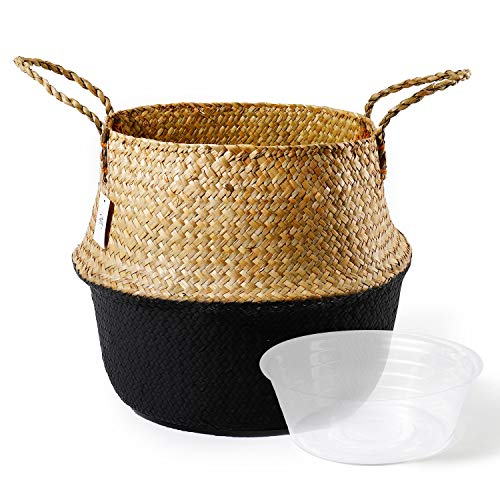 POTEY 710303 Seagrass Plant Basket - Hand Woven Belly Basket with Handles, Extra Large Storage Laundry, Picnic, Plant Pot Cover, Home Decor and Woven Straw Beach Bag (Extra Large, Original+Black)