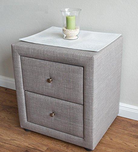 PEGANE Table de Chevet en Tissu Coloris Gris - Dim : H 47 x L 53 x P 41 cm