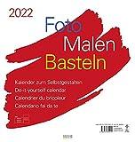 Foto-Malen-Basteln Bastelkalender weiß groß 2022: Fotokalender zum Selbstgestalten. Bastelkalender mit festem Fotokarton. Do-it-yourself Kalender Format: 45,5 x 48 cm