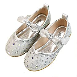 Silver Flower Girls's Tied Bow Ankle Strap Shoe