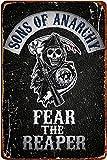 Cimily Sons of Anarchy Fear The Reaper Vintage Blechschild Eisenmalerei Retro Metallschild Plakette Kunst Wanddekoration für Bar Cafe Office Hotel Outdoor 8 × 12 Zoll
