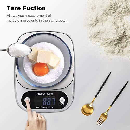 OUME Küchenwaage Smart Digital Lebensmittelwaage mit Tara-Funktion LCD-Bildschirm 5 kg Professionelle elektronische Präzisionswaage zu Hause Batterien enthalten,(Silber)