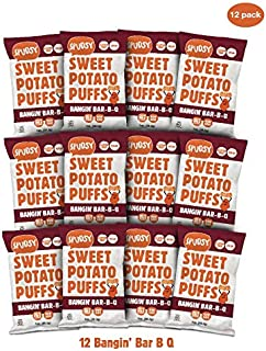 Spudsy Sweet Potato Puffs | 12 Pack | 1 oz Bags | Vegan, Gluten Free, Kosher, Allergen Free, Plant-Based | Made With Upcycled Sweet Potatoes (Bangin' Bar-B-Q, 12 Pack)
