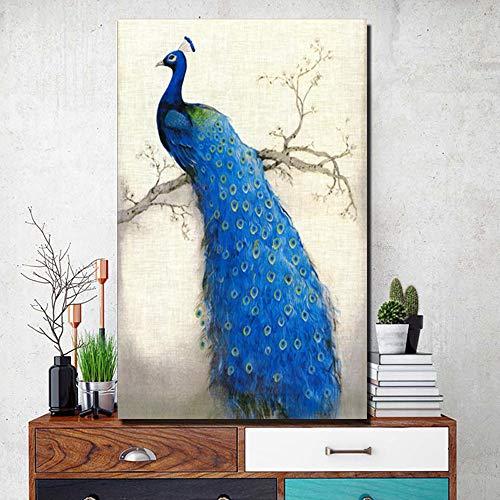 ganlanshu Rahmenloses GemäldeBlaues Pfauenplakat und Drucke Big Peacock Animal Wural, Wohnzimmerdekoration, Moderne Tiere20X36cm