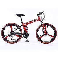 ナイフサークル3 高-炭素鋼 フレーム 自転車,人間工学的の設計 サドル マウンテンバイク,軽量 油圧式ディスクブレーキ 26インチ 24の速度 自転車-Red and black-colored tires 26インチ24速
