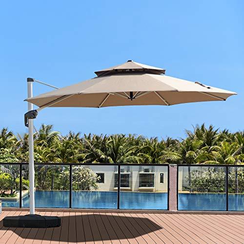 PURPLE LEAF 11 Feet Double Top Deluxe Patio Umbrella Offset Hanging Umbrella Outdoor Market Umbrella Garden Umbrella, Khaki