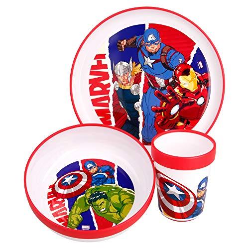 Little Flight Avengers BI Color - Juego de comida escolar de plástico reutilizable para Microndas Avengers (1 plato, 1 taza, 1 cuenco)