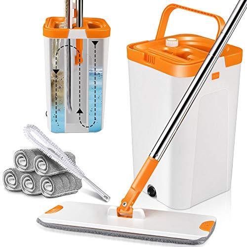 MASTERTOP Bodenwischer Wischmopp Set mit Eimer, 6 Wischmop Pads, Wischer mit auswringfunktion zum Waschen und Trocknen von Böden (Orange und Weiß)