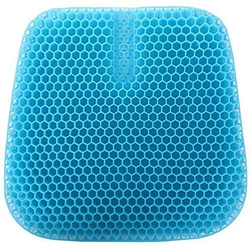 VAIYNWOM Gel Sitzkissen Doppelt Dickes Wabendesign, Home Office Auto Sitzbezug für Körperdruck Linderung von Rückenschmerzen, 47 * 43.2 * 3cm