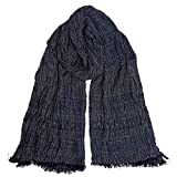 GERINLY Navy Wrinkle Scarf for Men Tribal Cotton Blanket Wrap Large Winter Shawl Eco Style Head Scarf (Navy)