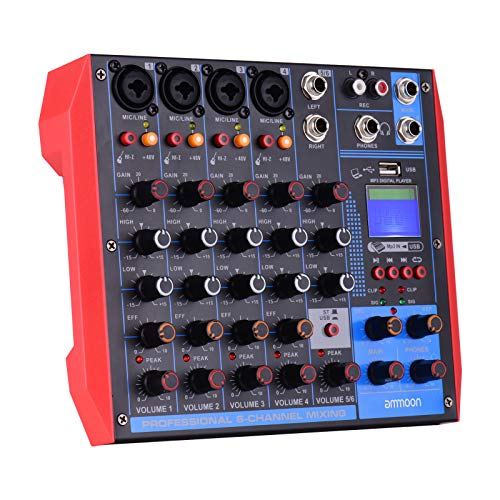 ammoon Portable 6-Channel Mixing Console Digital Audio Mixer +48V Phantom Power Supports BT/USB/MP3 Connection for Music Recording DJ Network Live Broadcast Karaoke