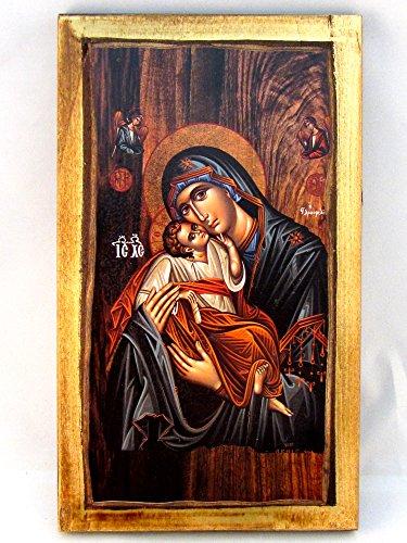 H2 Handgefertigte christliche, griechisch-orthodoxe Ikone mit der Hl. Jungfrau Maria und Jesus Christus, aus Holz