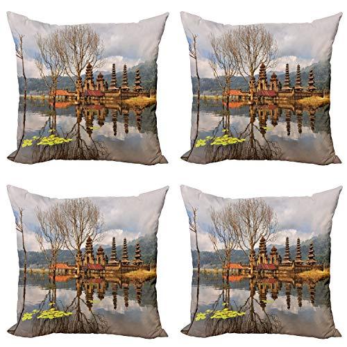 ABAKUHAUS Paisaje Set de 4 Fundas para Cojín, Tamblingan Lago Bali, Estampado Digital en Ambos Lados y Cremallera, 60 cm x 60 cm, Marrón y Gris
