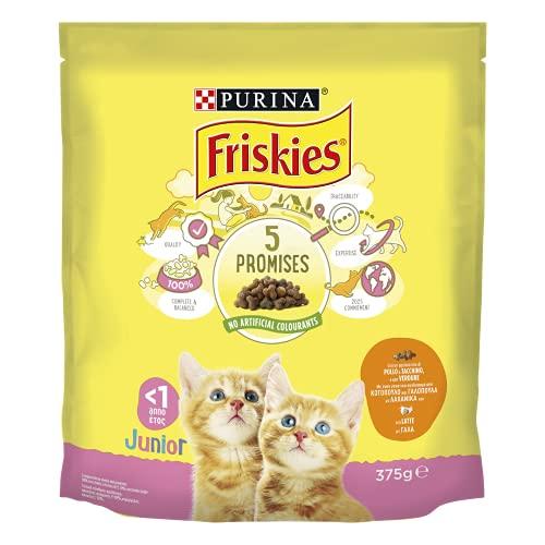 PURINA FRISKIES Crocchette Gatto Kitten con Pollo, Tacchino, Latte e con Verdure, 12 Confezioni da 375 g Ciascuna, Peso Totale 4,5 kg