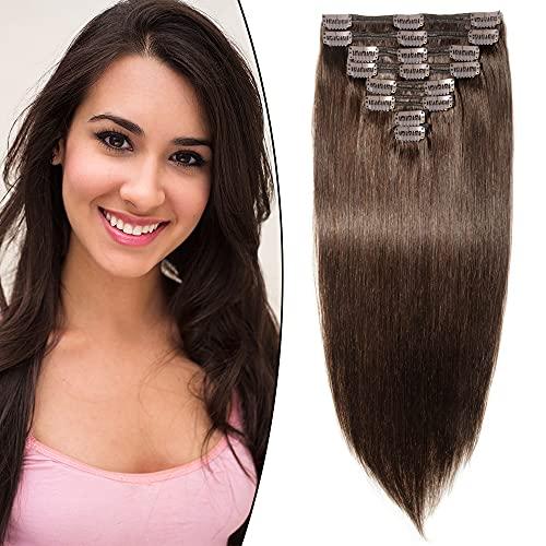 Clip in extensions echthaar Doppelt Tressen dick Echthaar Extensions Haarverlängerung 8 teiliges 18 clips/set (60cm-170g, #2 Dunkelbraun)