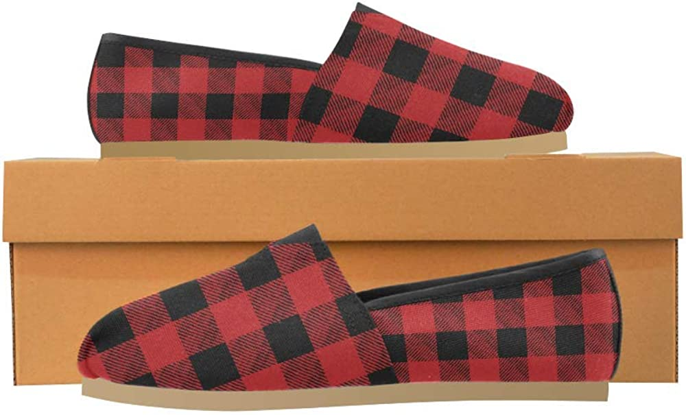 InterestPrint Womens Casual Canvas Flat Shoes Checkered Race Flag Comfortable Loafers Outdoor