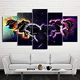 Rkmaster-Canvas Decoración para el hogar Arte de pared modular Marco de imagen 5 piezas Pintura abstracta de ponis Sala de estar Impresión HD Cartel de dibujos animados