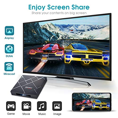 pendoo Android 9.0 TV Box 4GB RAM 64GB ROM, X10 MAX Android TV Box RK3318 Quad-Core 64Bits Dual WiFi 2.4G / 5G Bluetooth 3D 4K Ultra HD H.265 USB 3.0 Android Box miniatura