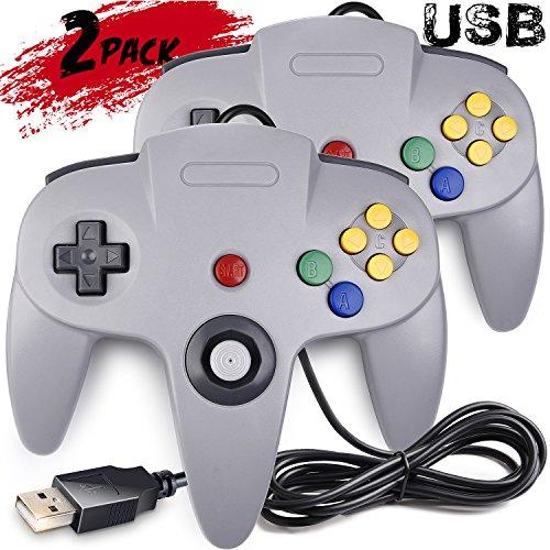 2 Pack Classic N64 Controller, SAFFUN N64 Wired USB PC Game pad Joystick, N64 Bit USB Wired Game Stick Joy pad Controller for Windows PC MAC Linux Raspberry Pi 3 Genesis Higan