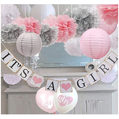 Pink And Grey Elephant Baby Shower Decorations Amazon Com