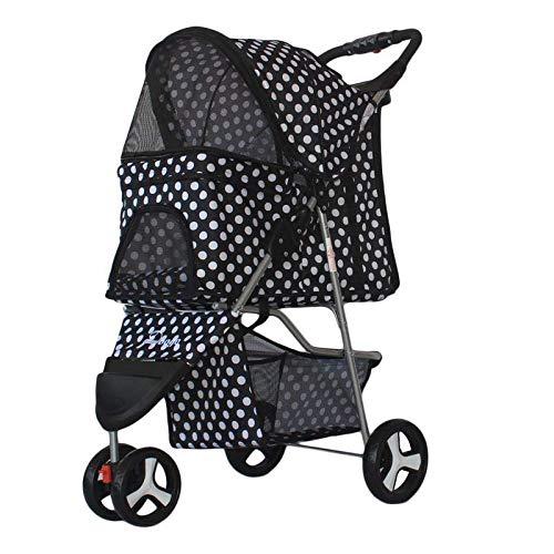 xingxing Pet Supplies Carro ligero plegable para mascotas con tres ruedas, carrito para mascotas al aire libre, carrito de viaje para mascotas para perros y gatos (color: negro)