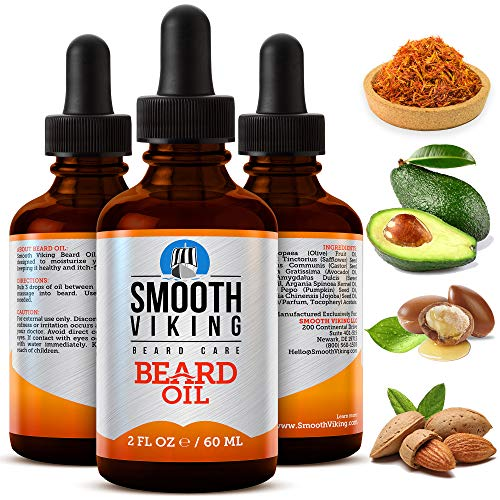 Beard Oil for Men - Smooth Viking Beard Oil Conditioner (2 Oz) - Soft and Itch-Free Beard & Mustache Oil, Moisturizing Beard Oil with Argan Oil Formula to Groom Beard and Mustache & Soothe Dry Skin