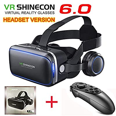 VR SHINECON-Virtual Reality VR Headset 3D Glasses Headset Helmets VR Goggles for TV, Movies & Video Games Compatible iOS, Android &Support 4.7-6.53 inch (with Controller SC-B08)