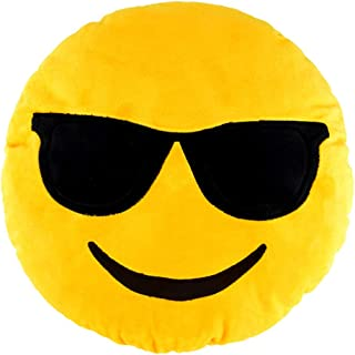 Sealive 36cm Emoji Pillow Cool Sunglasses, Large Yellow Smiley Emoticon Pillows for Sleeping, Decorative Pillows Bedroom Decor Kids Toys for Girls Boys