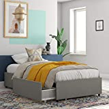 REALROOMS Alden Platform Bed with Storage Drawers, Twin Size Frame, Gray Linen