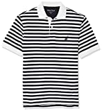 Nautica Men's Classic Fit 100% Cotton Soft Short Sleeve Stripe Polo Shirt, Bright White, Medium