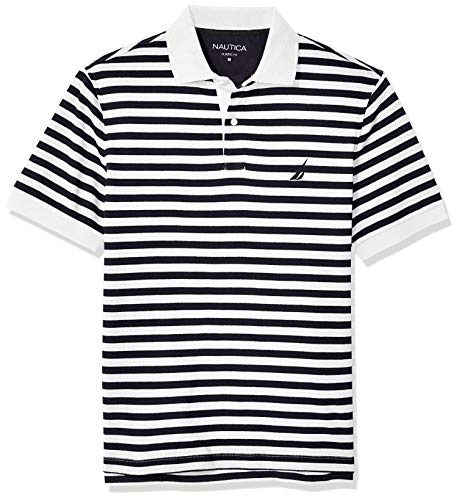 Nautica Men's Classic Fit 100% Cotton Soft Short Sleeve Stripe Polo Shirt, Bright White, Medium