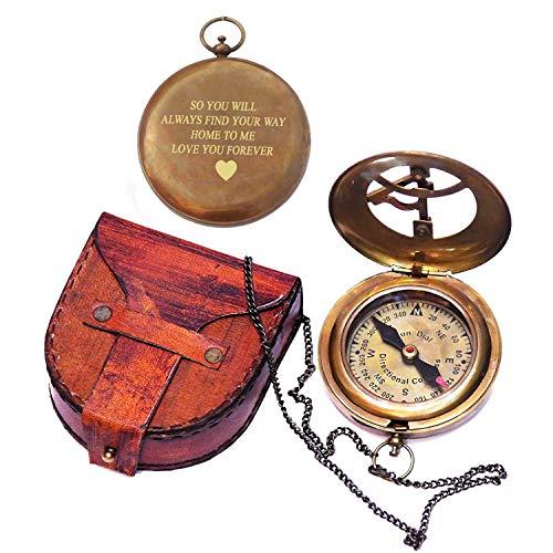 Brújula de reloj de sol grabada con estuche de cuero, regalo de viajero, regalo inspirador, regalo de aventurero, regalo de boda, regalo de bautismo, regalo para él