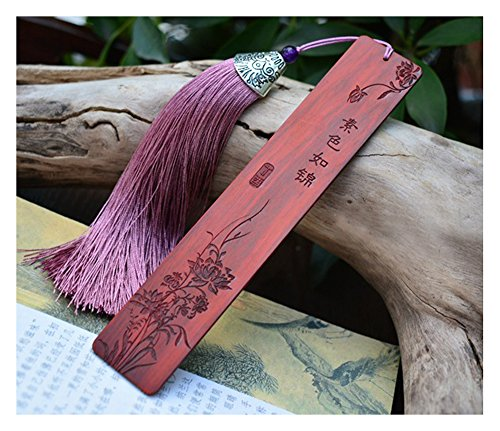 Melyaxu,Natural Wood - Engraved Wood Bookmark with Tassel - Flowers and Plants