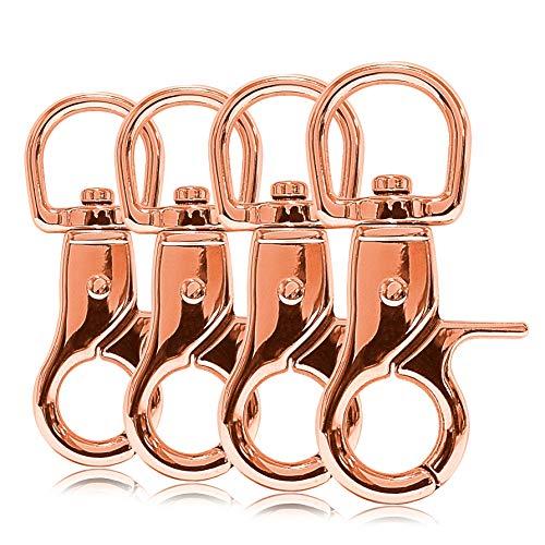 Ganzoo Scheren-Karabiner-Haken mit Dreh-Gelenk/Dreh-Kopf für Hunde-Leine/Hals-Band 4er Set, legierter Stahl ? 60mm Länge, auch für Paracord 550 / Schlüssel-Anhänger, Farbe: roségold