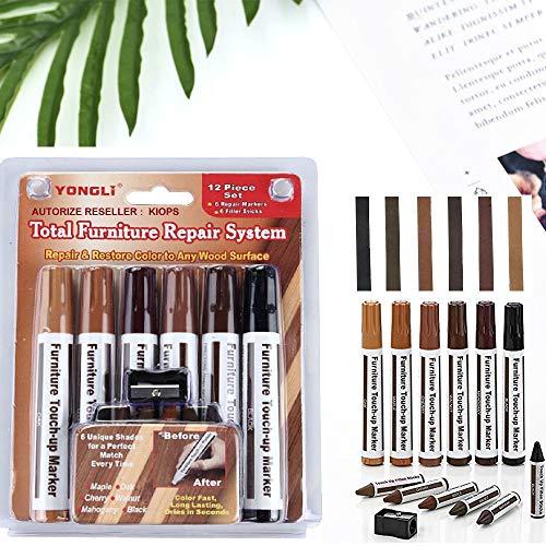 KIOPS Holzkorrekturstift für Alle Holzschirmmöbel | 13 Stück Holzreparaturset und Wachsstifte mit Spitzer | Einfache Farbanpassung | Lang anhaltender Effekt