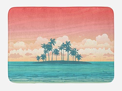 Lunarable Tropical Bath Mat, Coconut Tree Silhouettes on Island Exotic Pastel Colored Landscape, Plush Bathroom Decor Mat with Non Slip Backing, 29.5