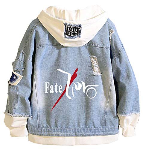 WANHONGYUE Anime Fate Zero Fate/Stay Night Denim Jacket Jeansjacke Damen Herren Hoodie Freizeitjacke Cosplay Kapuzenpullover Sweatshirt Mäntel Blau/1 3XL