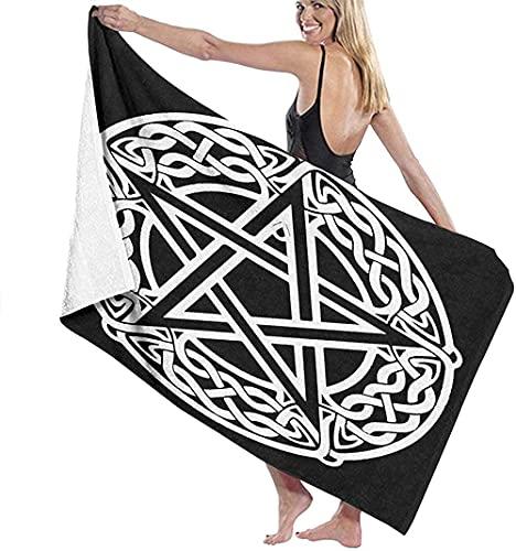 Toallas de playa de microfibra, nudo celta Pentagrama estrella negra grande toalla de baño ligera toalla de playa perfecta para el hotel familiar, viajes, natación, fitness, deportes