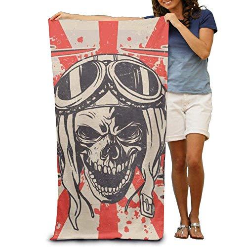 KIMIOE Toalla Toalla de Playa Smile Pirate Skull Pilot Beach Towels Premium Soft Eco-Friendly Printing Design Swim,Non-Toxic décor 31