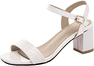 AmoonyFashion Women's Buckle Kitten-Heels Blend Materials Solid Open-Toe Sandals