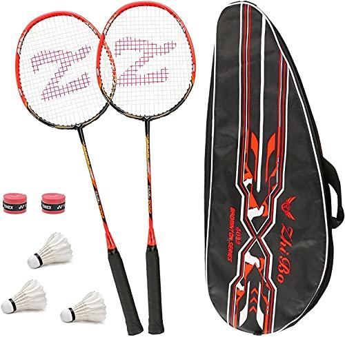 Set Di 2 Racchette Per Badminton, Con Borsa Per Racchette/2 x Overgrip/3 x Piuma Ball, Fibra Di...