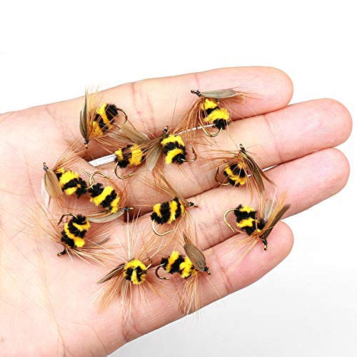 KEENET 12pcs/ 1dozen Bee Dry Flies Fishing Kit Bumble Bee Fly Fishing...