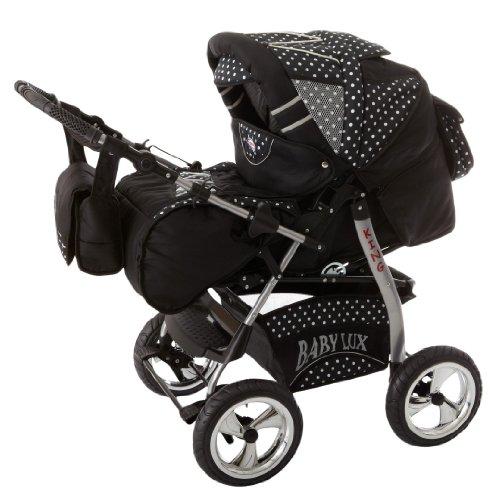 Lux4Kids King avec siège d'auto et parasol 13 noir cosmique & flocons de neige