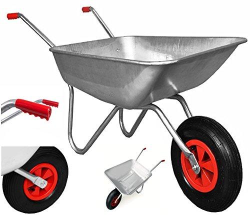 Schubkarre 100 kg, verzinkt, für Garten und Stall, 80 Liter, Luftreifen - 8