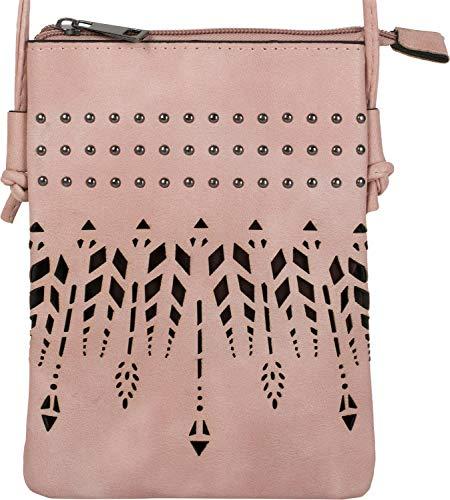 styleBREAKER Damen Mini Bag Umhängetasche Ethno Style und Nieten, Schultertasche, Handtasche, Tasche, 02012260, Farbe:Rose