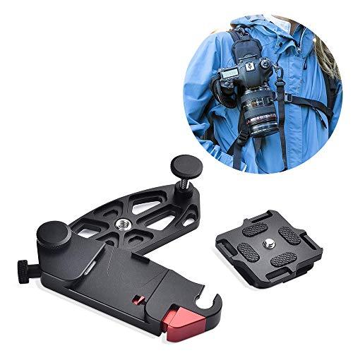 Ancocs Kamera Clip Schnellverschluss Clip mit 1/4 Stativschrauben für DSLR Kamera, Passend für Canon Nikon Sony ARCA Swiss, Kamera Gurt Kamera Halter Gürtel Clip Rucksack Halterung Schultergurt