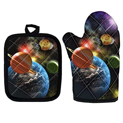 chaqlin - Juego de 2 almohadillas de cojín resistentes al calor para cocina y microondas, diseño de planeta espacial