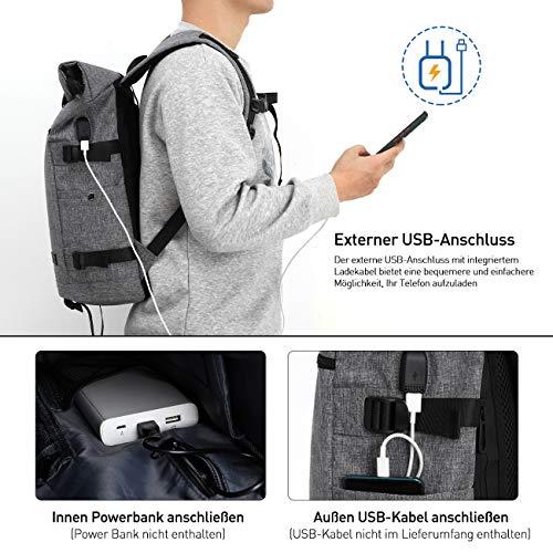 YAMTION Laptop Rucksack Herren,Rolltop Rucksack Schulrucksack Jungen Teenager mit USB Ladeanschluss & 17 Zoll Laptopfach für Schule,Freizeit,Arbeit,für Männer Damen (grau)